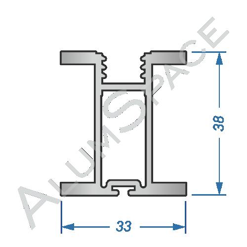 Алюминиевый профиль для шкафов-купе боковой AA120