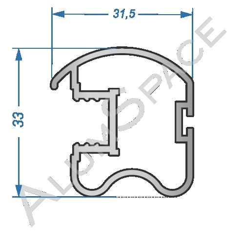 Алюминиевый профиль для шкафов-купе боковой AA165