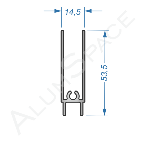 Алюминиевый профиль для шкафов-купе нижний АА01