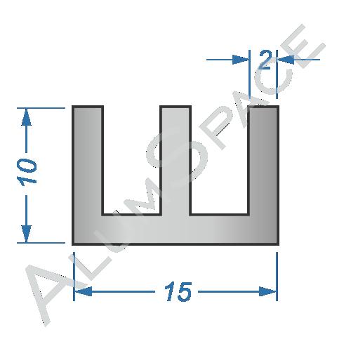 Алюминиевый профиль Ш-образный 15х10х2