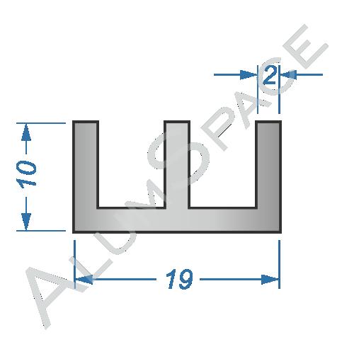Алюминиевый профиль Ш-образный 19х10х2 Анод