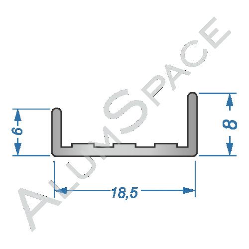 Алюминиевый профиль торцовочный C-16 18,5х8 Анод