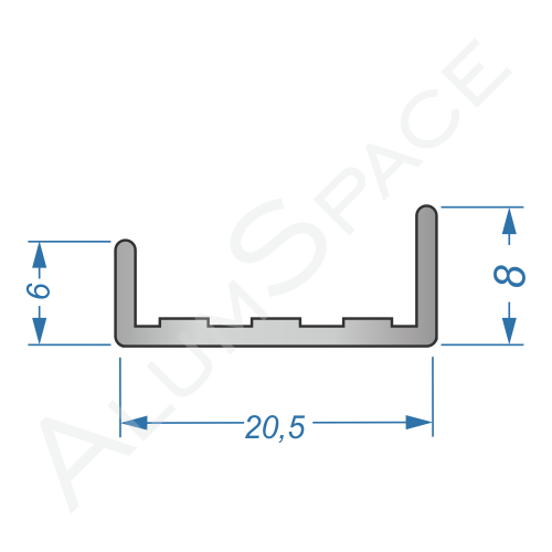 Алюминиевый профиль торцовочный C-18 20,5х8 Анод