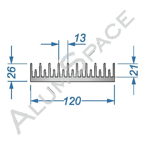Алюминиевый радиаторный профиль 120х26