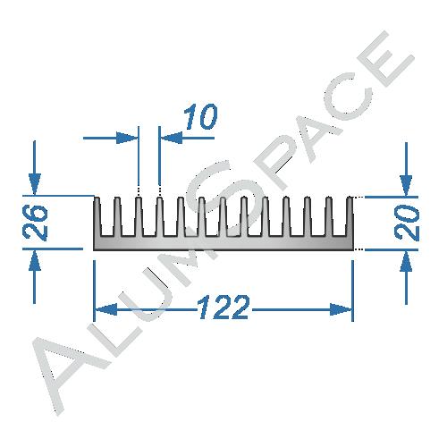 Алюминиевый радиаторный профиль 122х26