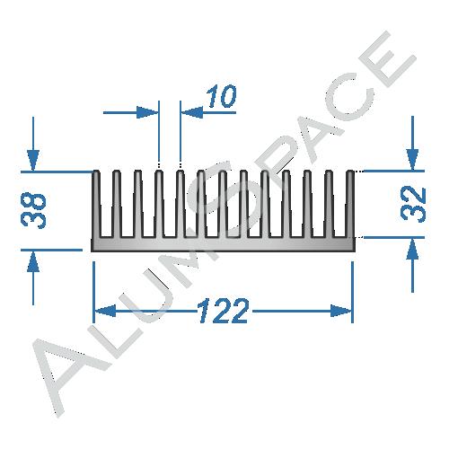 Алюминиевый радиаторный профиль 122х38 Анод