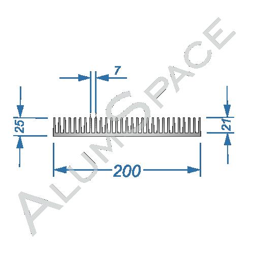 Алюминиевый радиаторный профиль 200х25