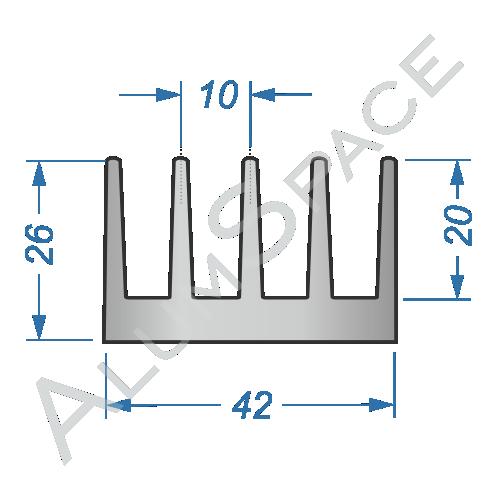 Алюминиевый радиаторный профиль 42×26