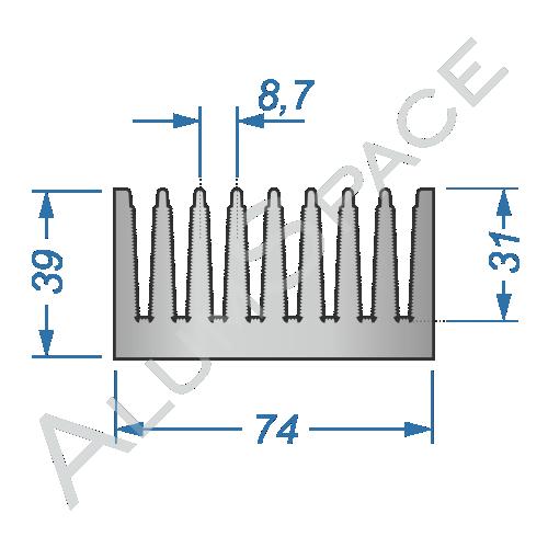 Алюминиевый радиаторный профиль 74х39
