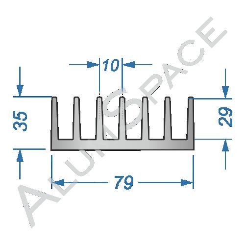 Алюминиевый радиаторный профиль 79х35