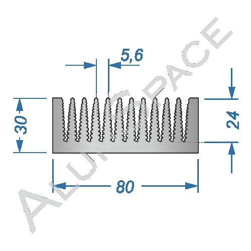 Алюминиевый радиаторный профиль 80х30