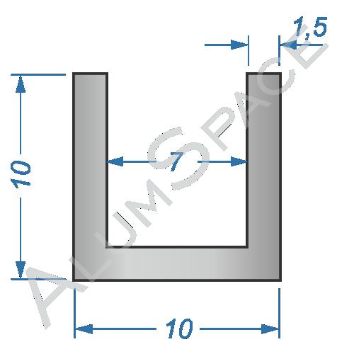 Алюминиевый швеллер 10х10х1,5 (7мм) Анод