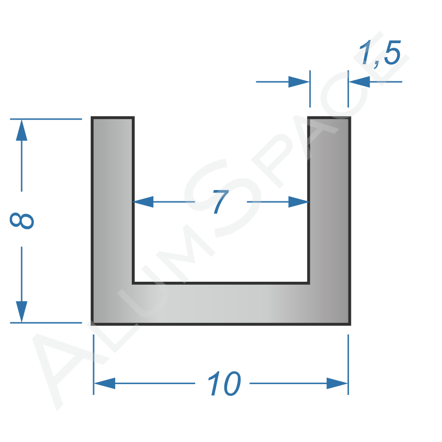 Алюминиевый швеллер 10х8х1,5 (7мм)