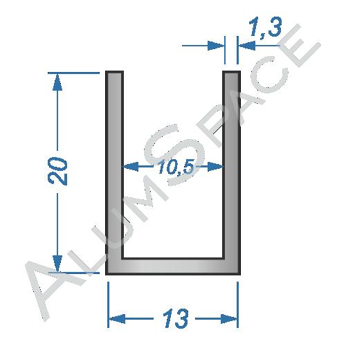 Алюминиевый швеллер 13х20х1,3 (10,5мм)