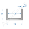 Алюминиевый швеллер 15х10х1,5 (12мм)