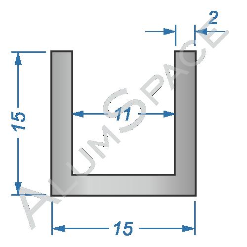 Алюминиевый швеллер 15х15х2 (11 мм)