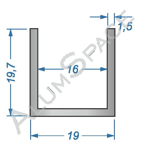 Алюминиевый швеллер 19х19,7х1,5 (16мм)