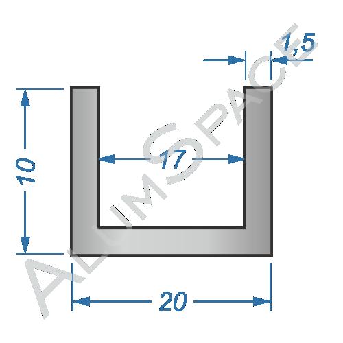 Алюминиевый швеллер 20х10х1,5 (17мм)