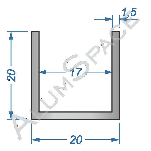 Алюминиевый швеллер 20х20х1,5 (17мм)