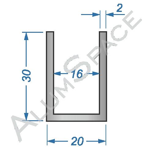 Алюминиевый швеллер 20х30х2 (16мм)