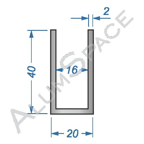 Алюминиевый швеллер 20х40х2 (16мм)