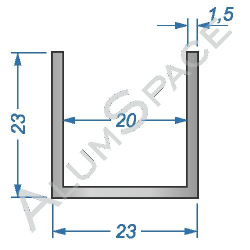 Алюминиевый швеллер 23х23х1,5 (20мм)