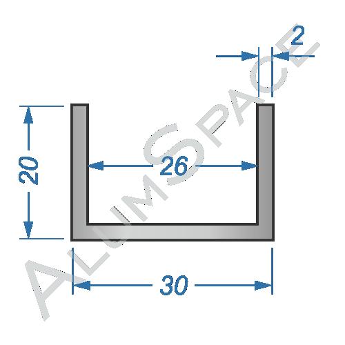 Алюминиевый швеллер 30х20х2 (26мм)