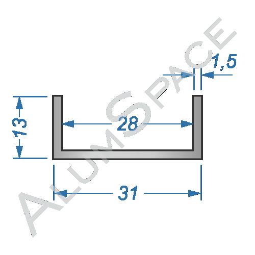 Алюминиевый швеллер 31х13х1,5 (28мм)
