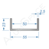 Алюминиевый швеллер 55х23х2,5 (50мм)