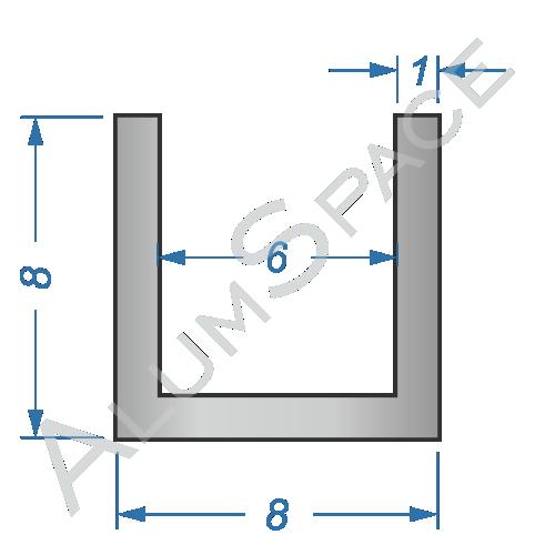 Алюминиевый швеллер 8х8х1 (6мм)