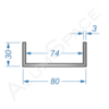 Алюминиевый швеллер 80х30х3 (74мм)