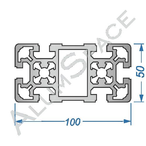 Алюминиевый станочный профиль 100х50