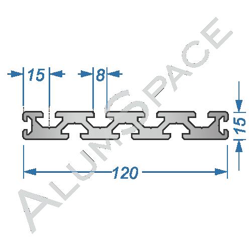 Алюминиевый станочный профиль 120х15