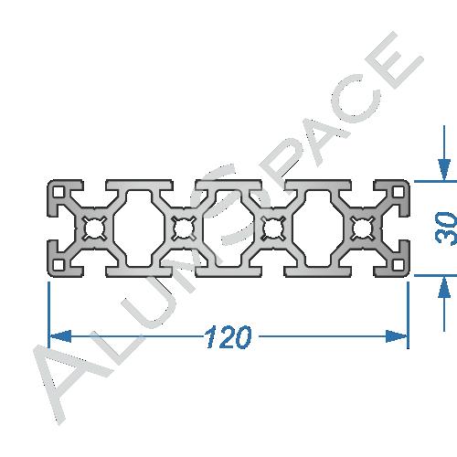 Алюминиевый станочный профиль 120х30