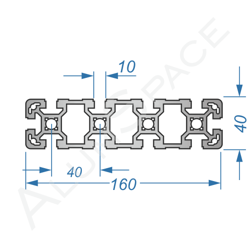 Алюминиевый станочный профиль 160х40