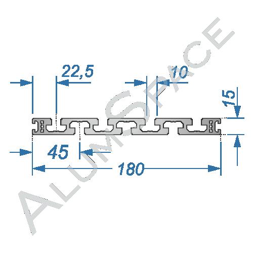 Алюминиевый станочный профиль 180х15