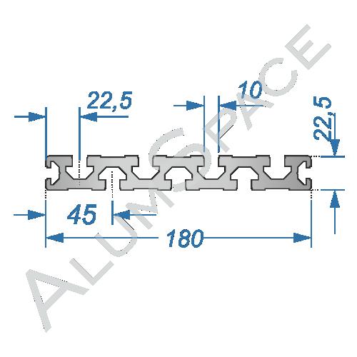 Алюминиевый станочный профиль 180х22,5