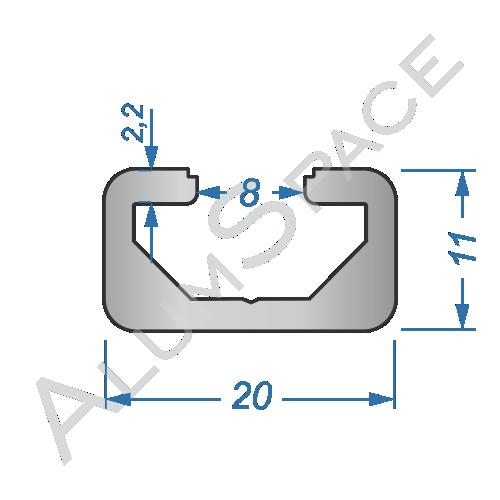 Алюминиевый станочный профиль 20х11