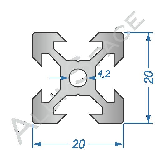 Алюминиевый станочный профиль 20х20 V-образный