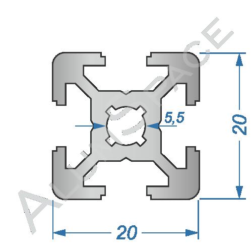 Алюминиевый станочный профиль 20х20