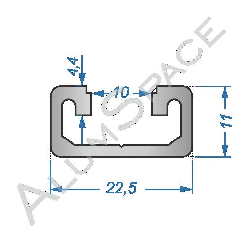 Алюминиевый станочный профиль 22,5х11 Анод