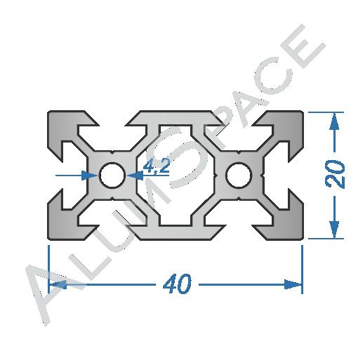 Алюминиевый станочный профиль 40х20 V-образный