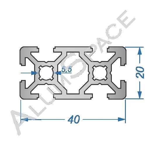 Алюминиевый станочный профиль 40х20