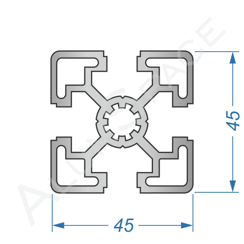 Алюминиевый станочный профиль 45х45