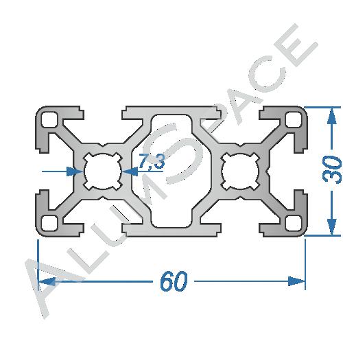 Алюминиевый станочный профиль 60х30