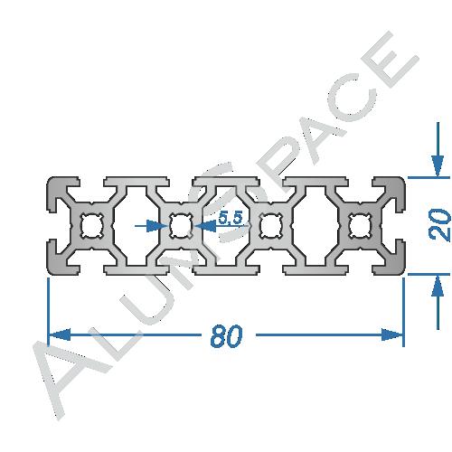 Алюминиевый станочный профиль 80х20