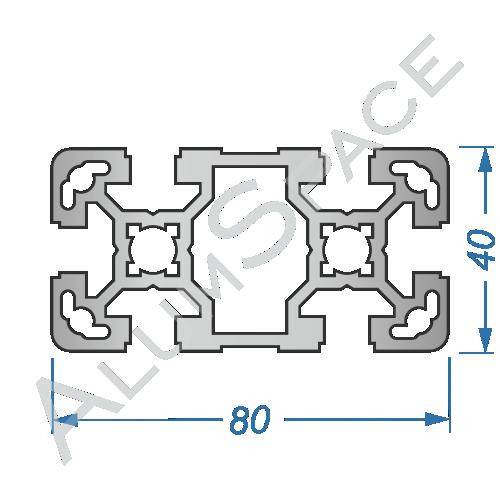 Алюминиевый станочный профиль 80х40