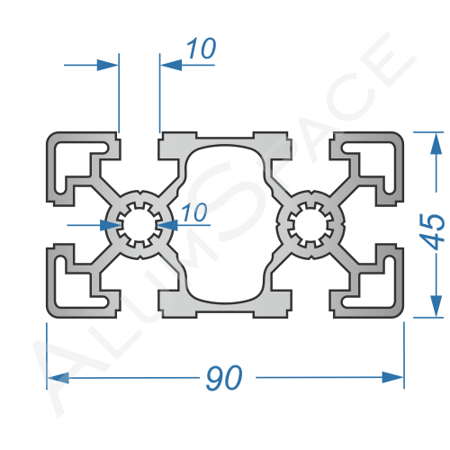 Алюминиевый станочный профиль 90х45