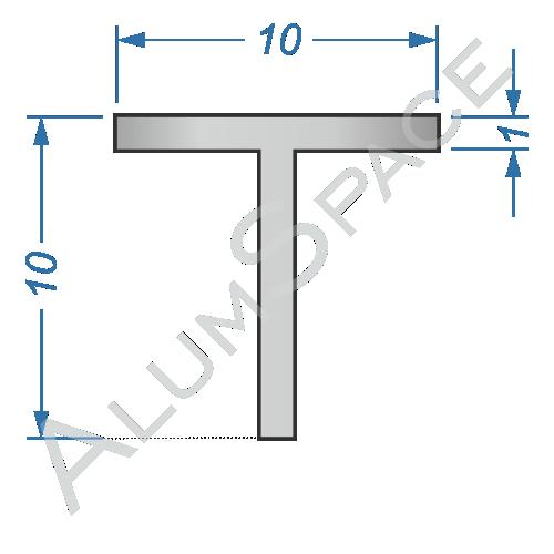 Алюминиевый тавр 10х10х1 Анод