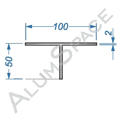 Алюминиевый тавр 100х50х2